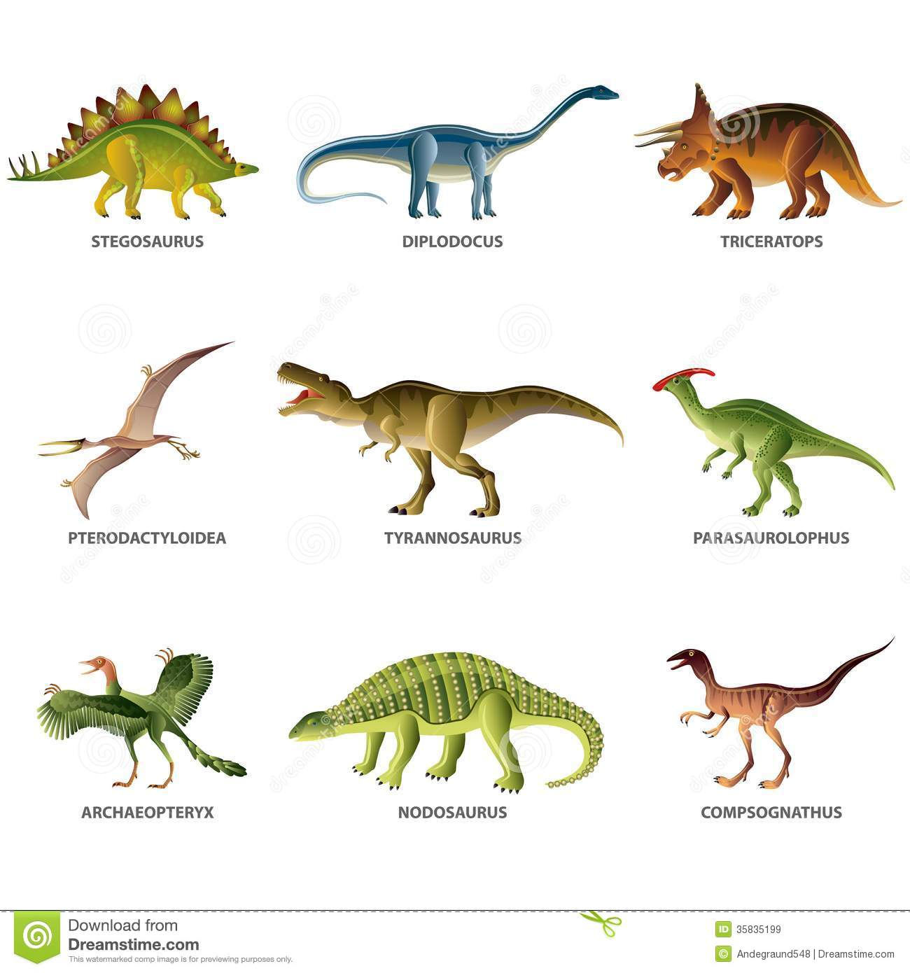 Dinosaurs Isolated On White Vector Set Royalty Free Stock