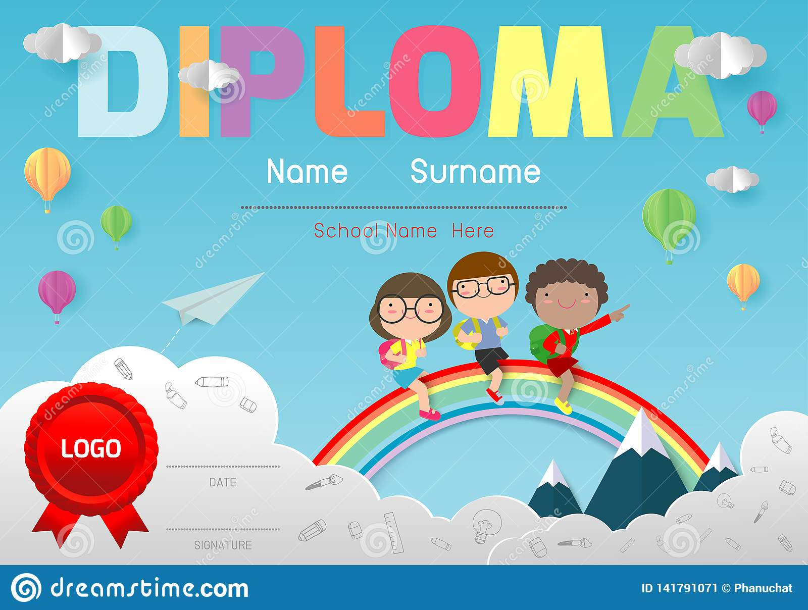 Diploma Template For Kids Certificates Kindergarten And