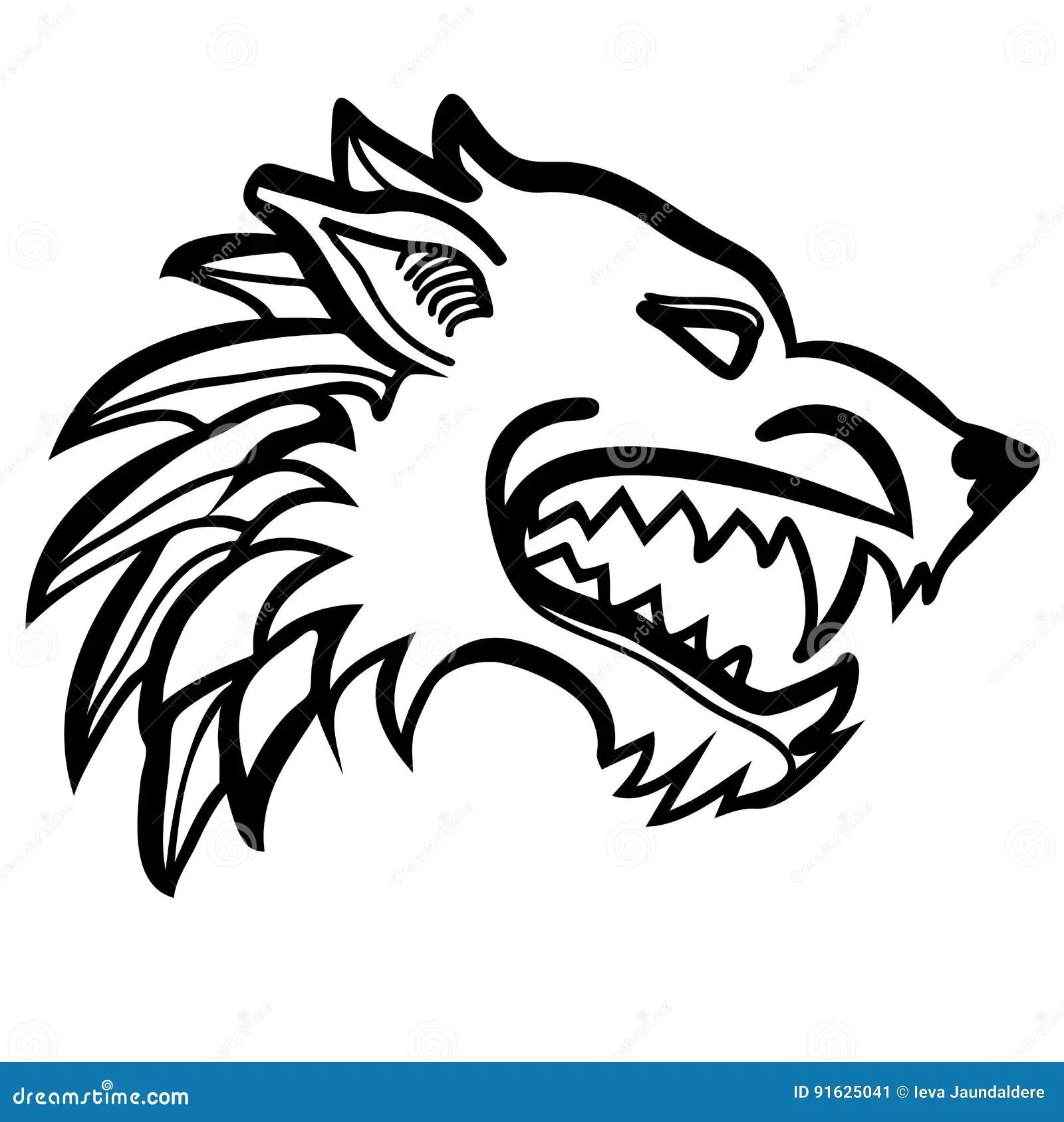 Dire Wolf Head Stock Illustration Illustration Of