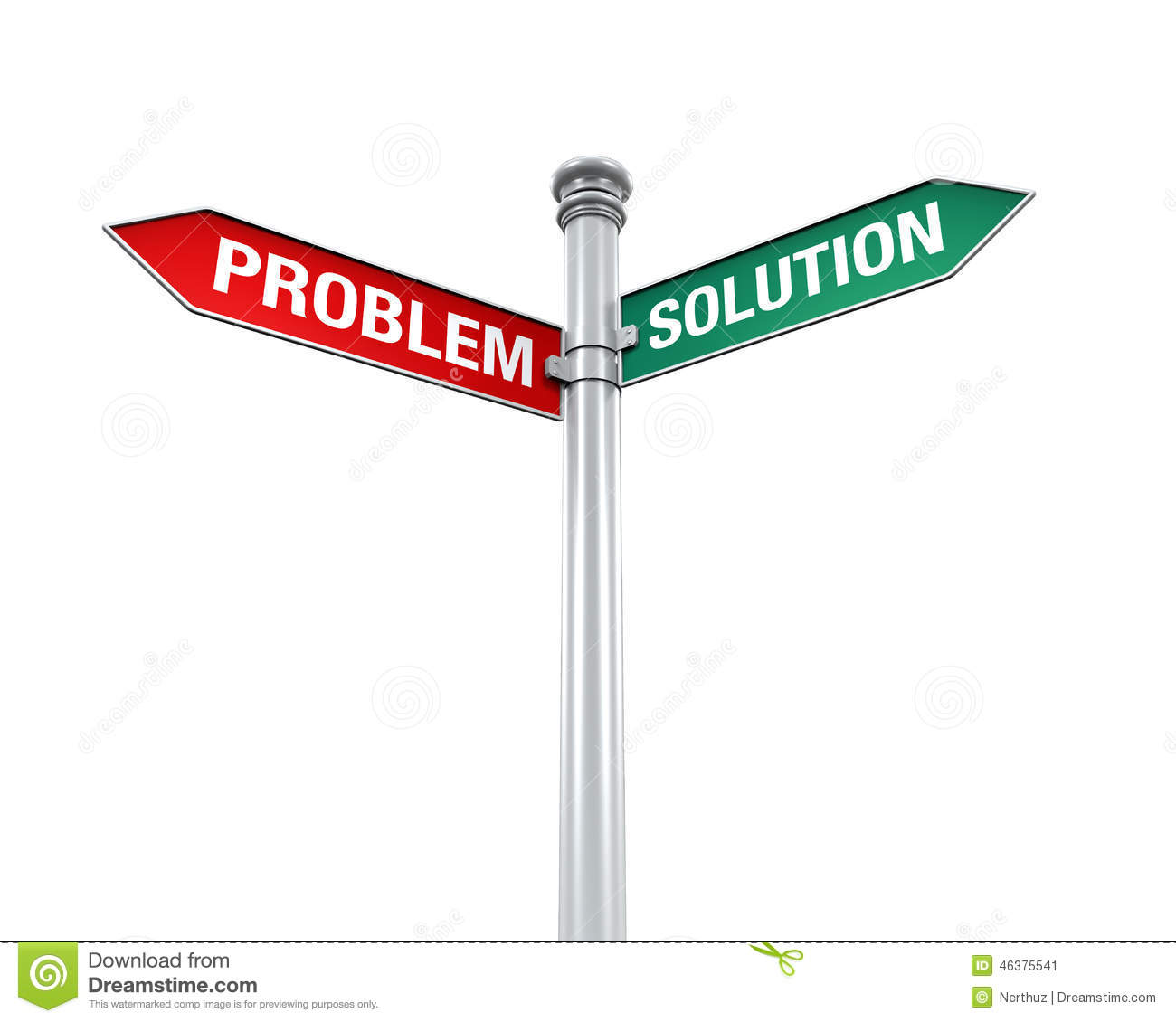 Direction Sign Of Problem And Solution Stock Illustration