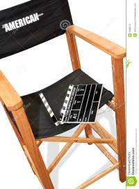 Director Chair, Movie Clapper And Megaphone Over Round ...