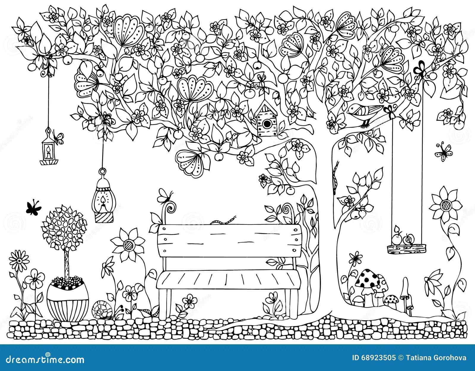 Dirigez Le Parc De Zentangle D'illustration, Jardin