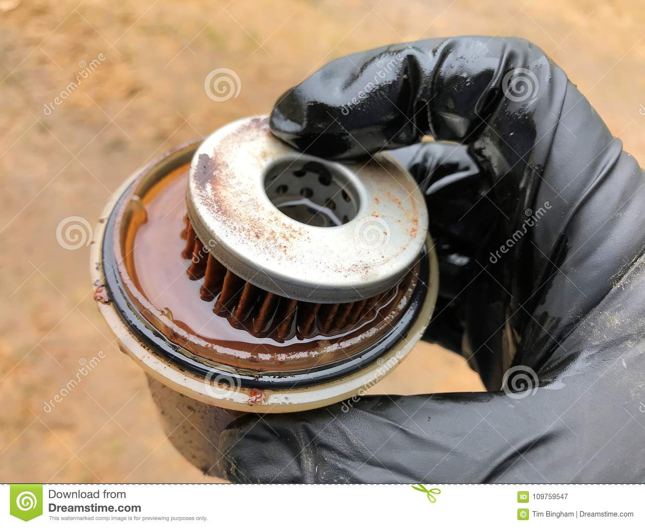 hight resolution of dirty diesel fuel filter with water
