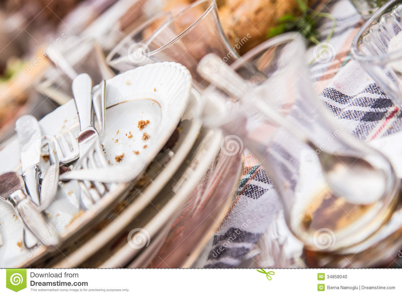 Dirty And Empty breakfast Dishes Stock Photo  Image 34858040
