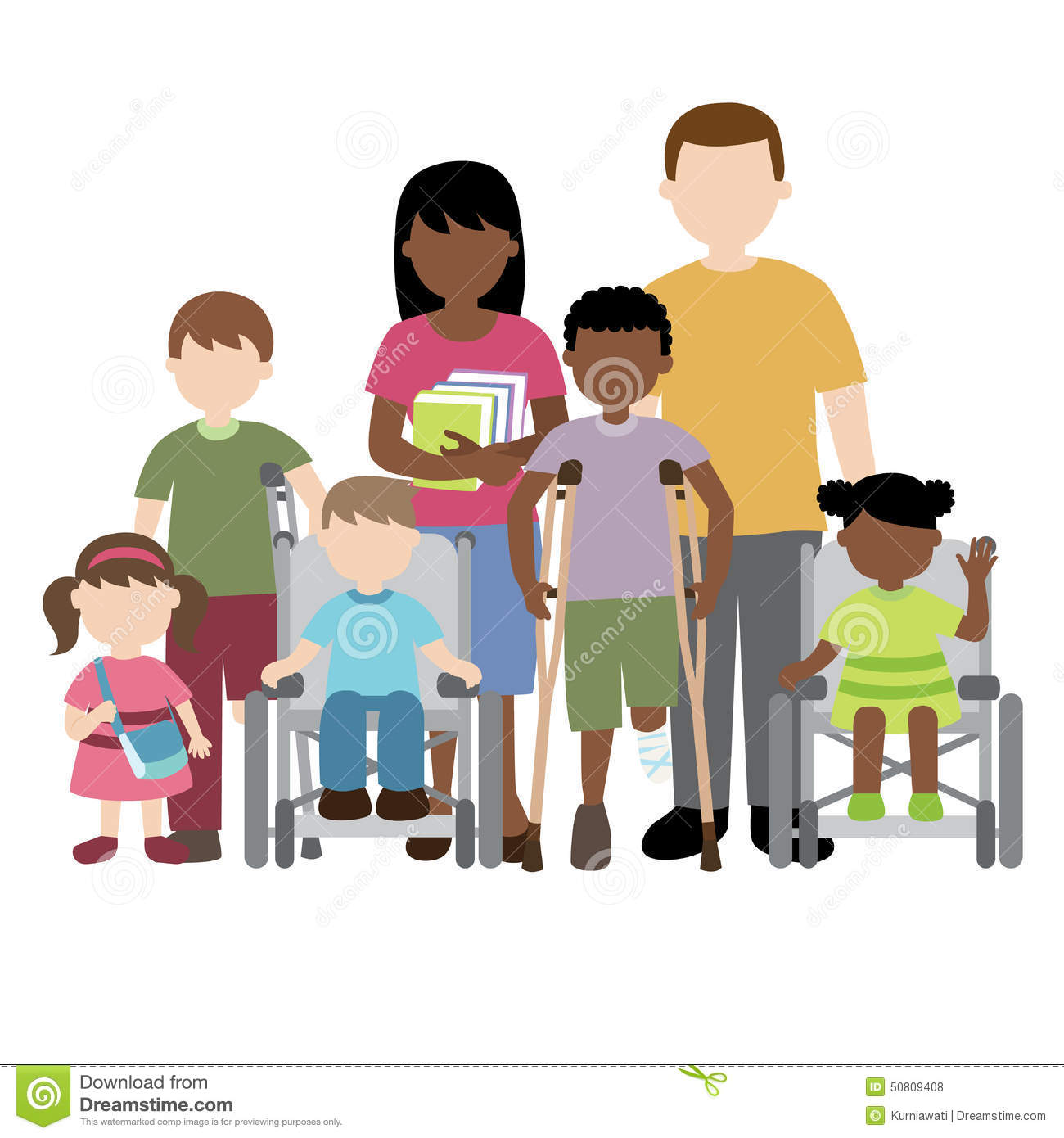 Disabled Children With Friends And Teacher Stock Vector
