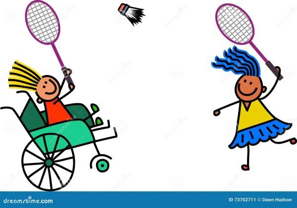 Little Girl Clip Art of Playing Badminton