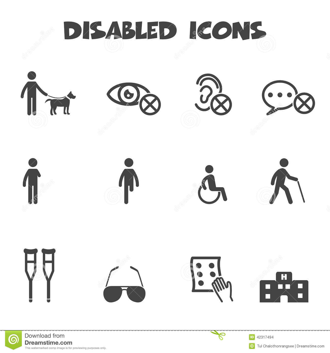Disabled icons stock vector. Illustration of accessible