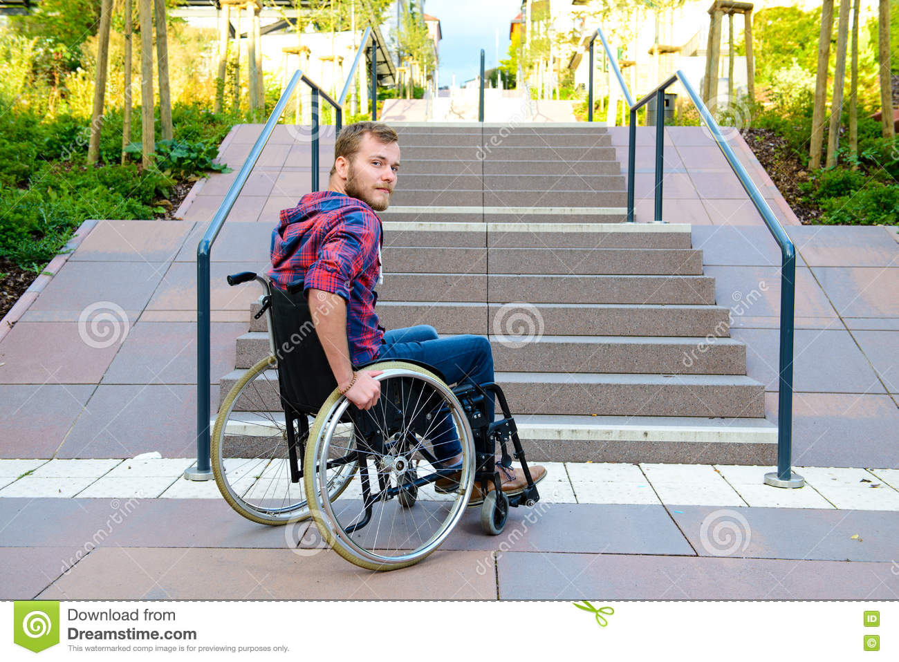 wheelchair man wayfair office chairs disabled in front of stairs stock photo
