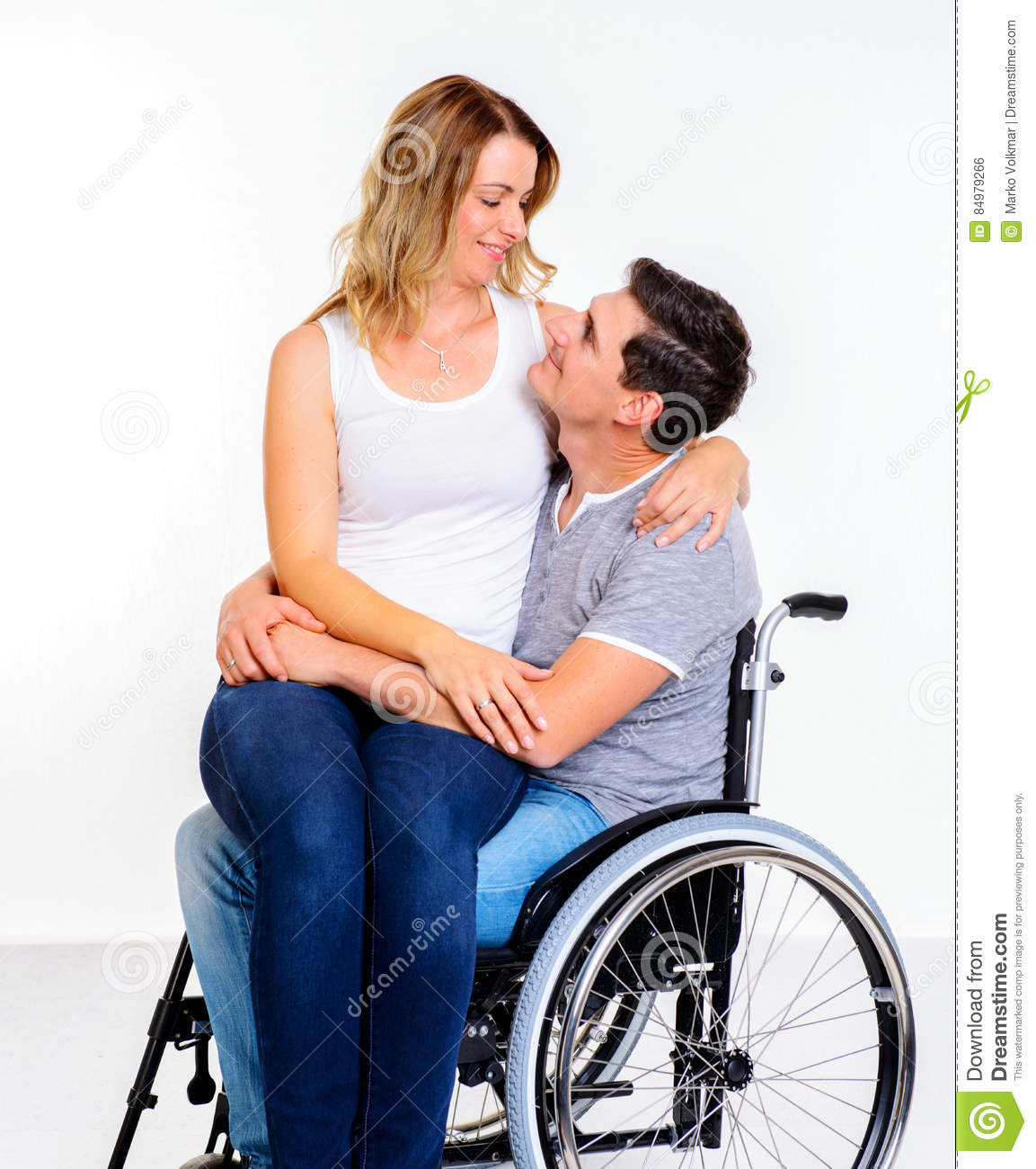wheelchair man office chairs with footrest disabled in and his wife stock photo