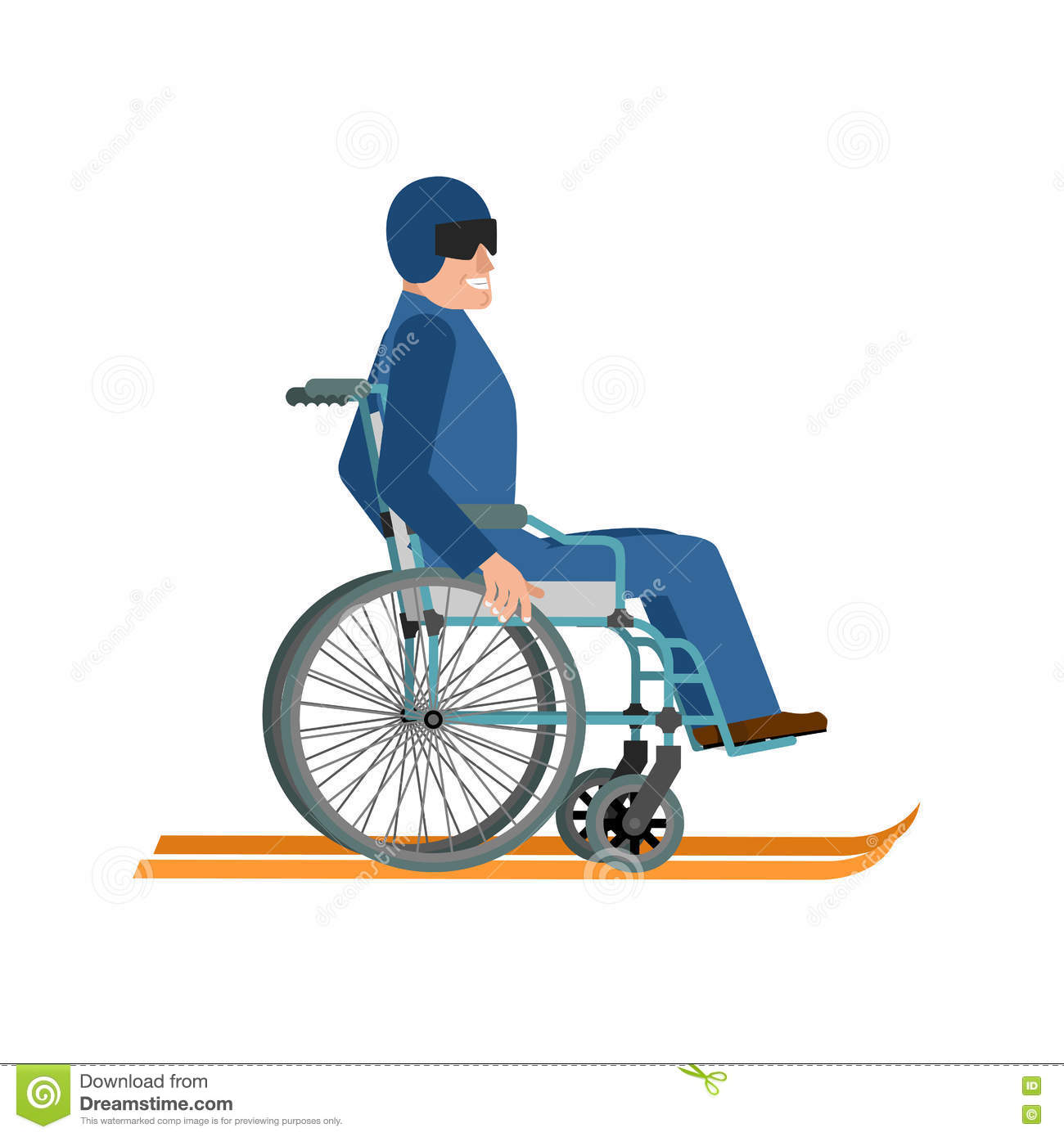 wheelchair skiing desk chair or stool disabled isolated ski running on white