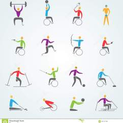 Wheelchair Skiing Revolving Chair Parts Suppliers In Mumbai Disabled Sports Icons Set Stock Vector - Image: 48747762