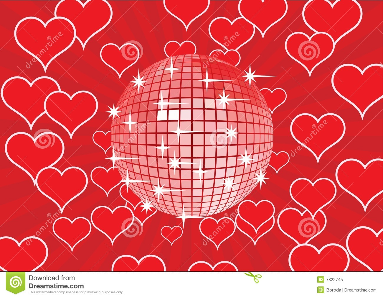 Disco Ball On A Red Background Stock Vector