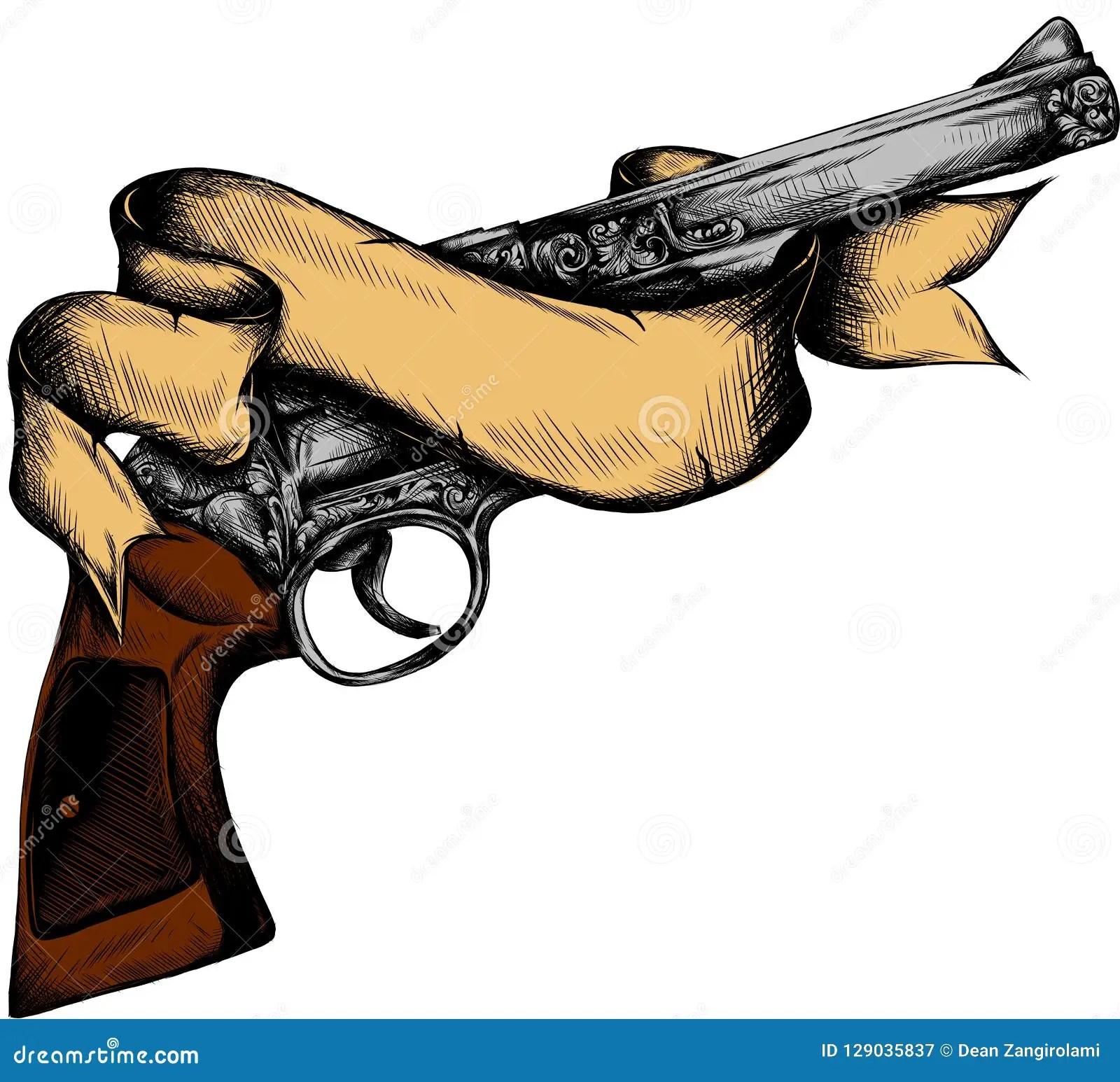 Diseño Tradicional Americano Del Tatuaje Arma Y Cinta Stock De