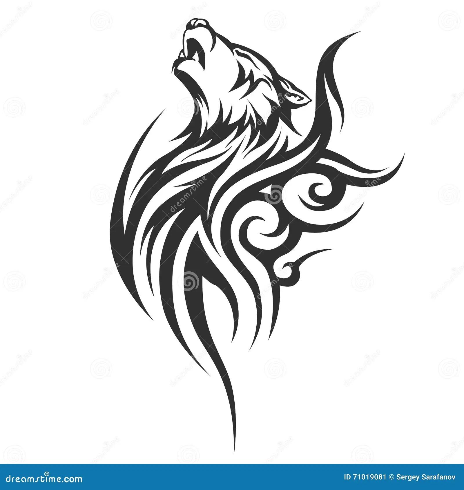 Diseños Tribales Del Lobo Del Tatuaje Ilustración Del Vector
