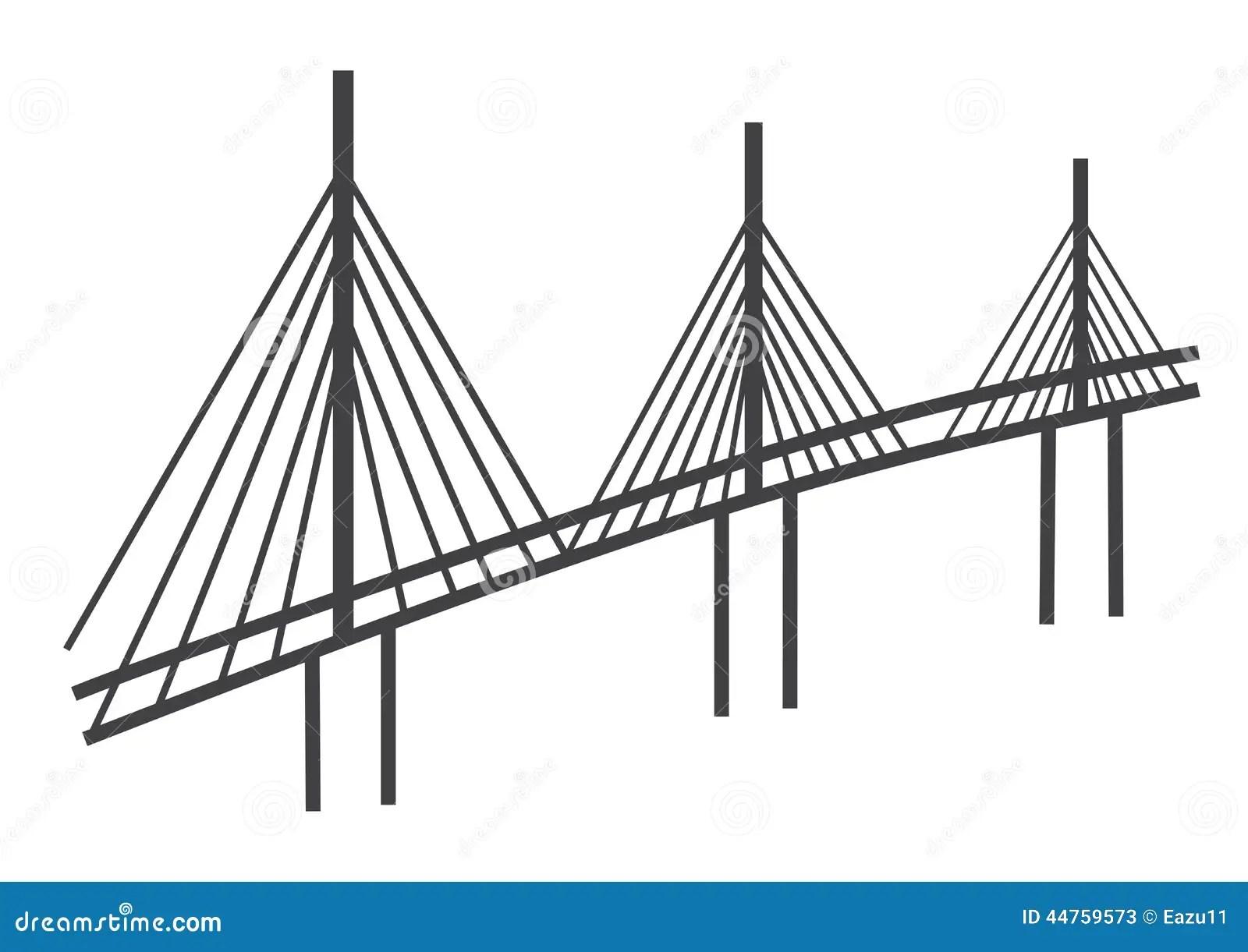 Disegno Del Ponte Di Cavo Fotografia Stock Editoriale