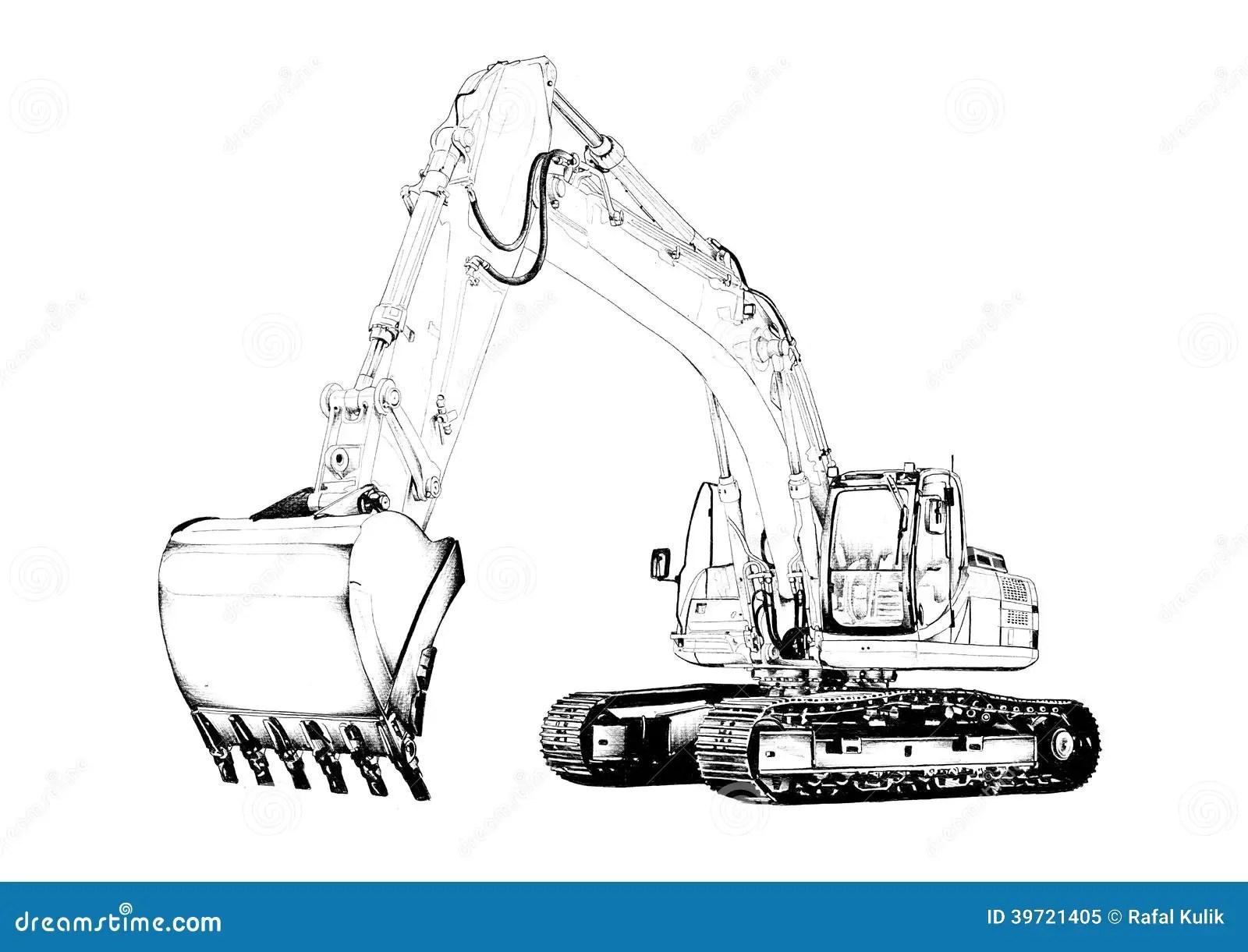 Disegno Di Arte Isolato Illustrazione Dell Escavatore