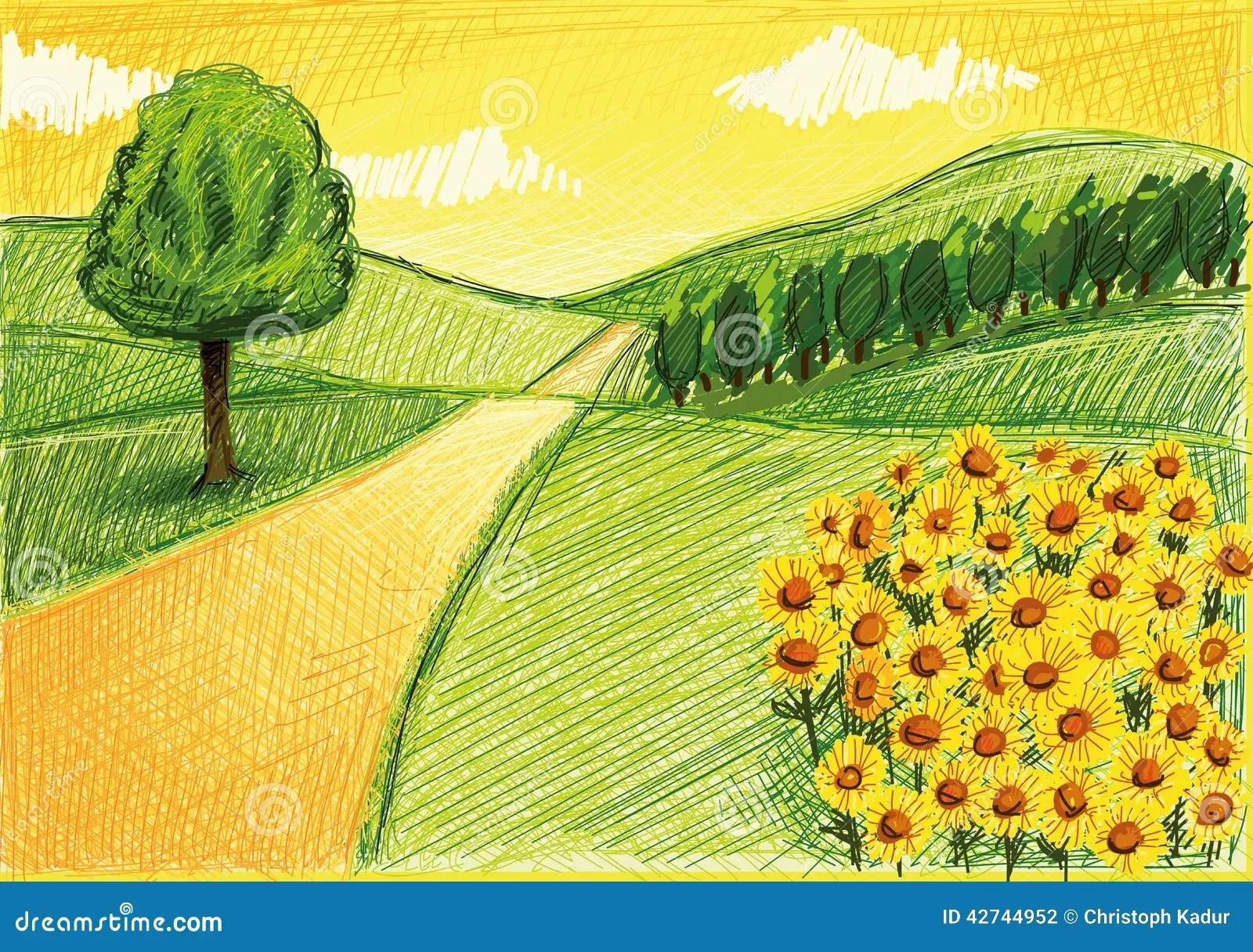 Disegno Semplice Di Un Paesaggio Illustrazione di Stock  Illustrazione di fiori orizzonte