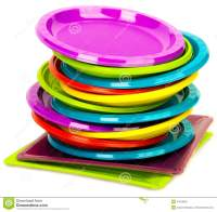 Disposable Bright Plastic Plates Stacked Stock Image ...