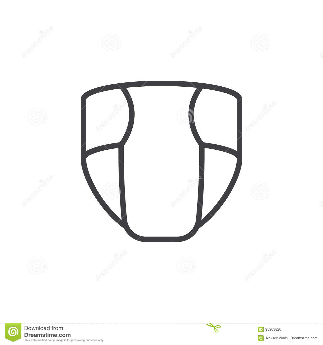 Disposable Nappy Diaper Line Icon Outline Vector Sign