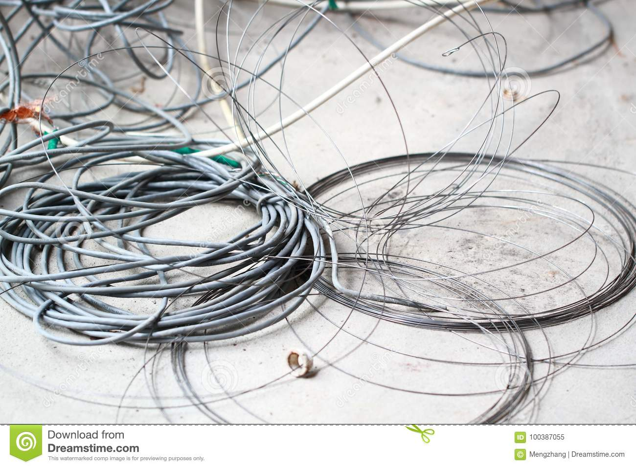 hight resolution of disused discarded ruined abandoned lan cable wires roll circle rope on the floor renovation decoration refurbish