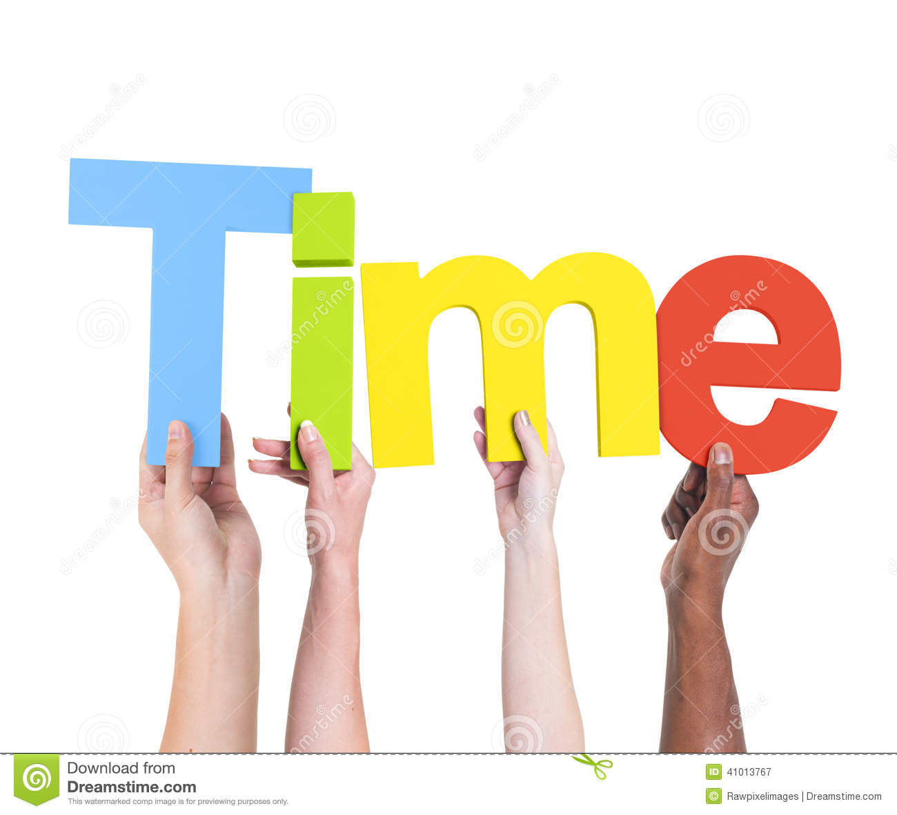 Diverse Hands Holding The Word Time Stock Image