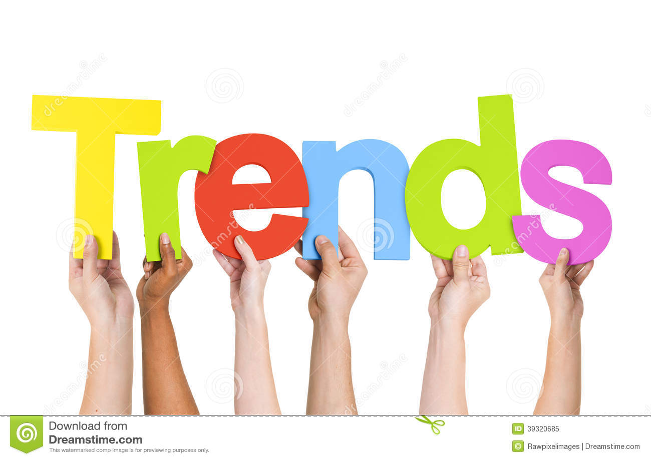 Diverse Human Hands Holding Word Trends Stock Image