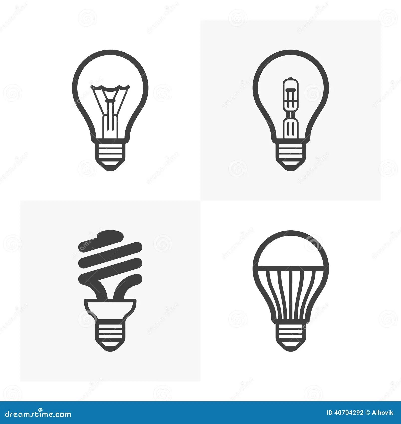 Diverses icônes d'ampoule illustration de vecteur