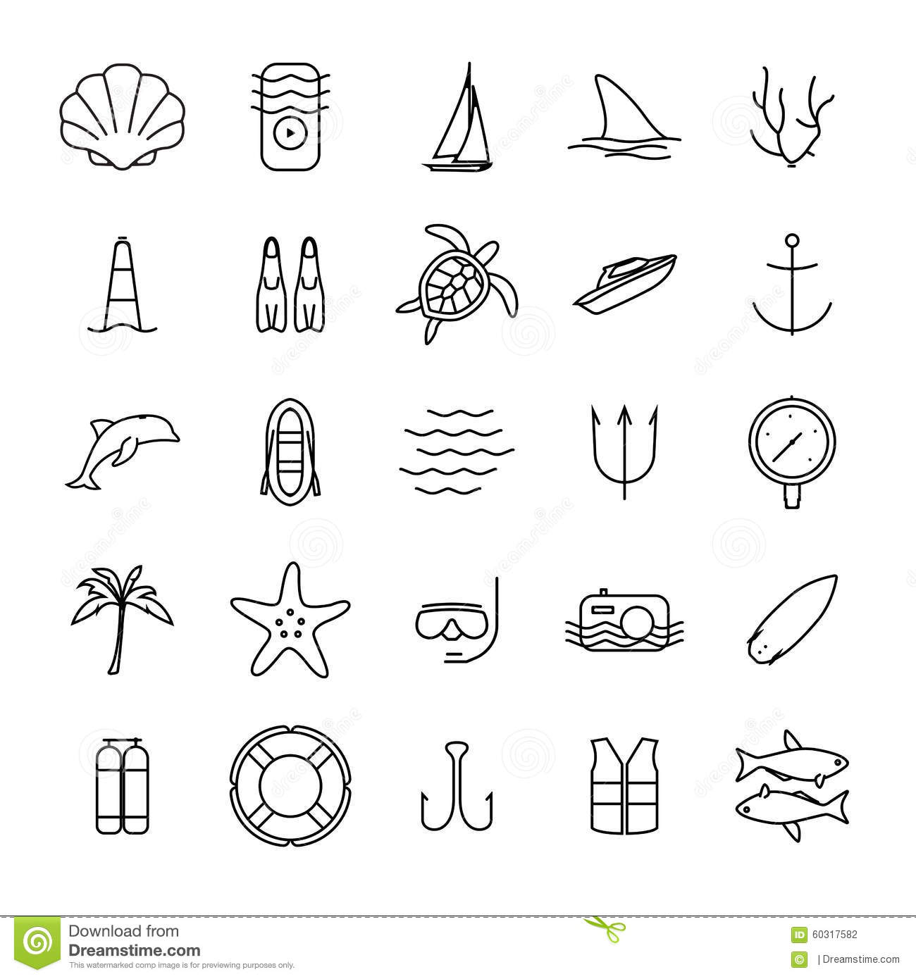 Diving And Water Activities Icons Outline Icons Stock