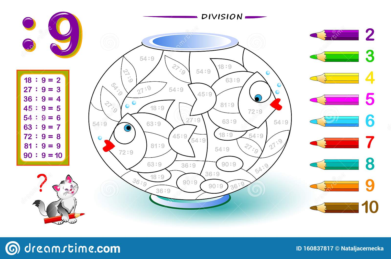 Division By Number 9 Math Exercises For Kids Paint The