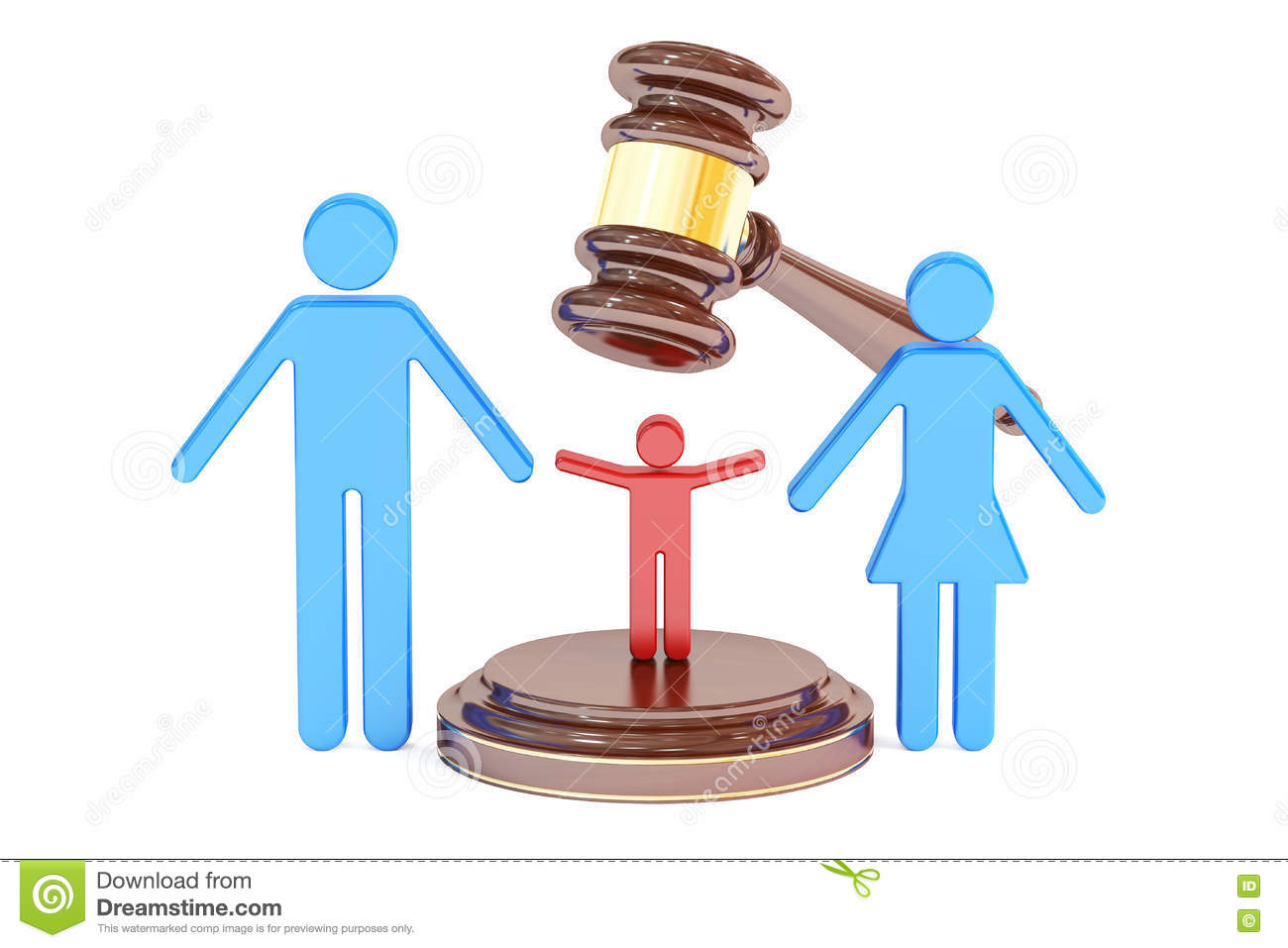 Divorce And Custody Child Concept With Gavel And Family