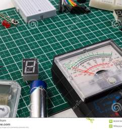 diy electrical maker tools components on green cutting mat board  [ 1300 x 935 Pixel ]