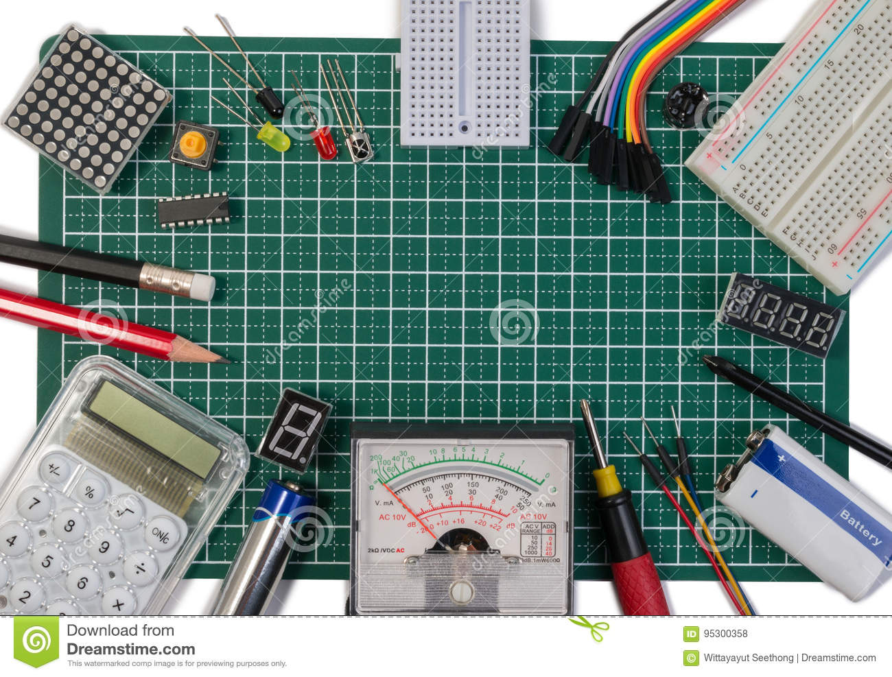 hight resolution of diy electrical maker tools components on green cutting mat board