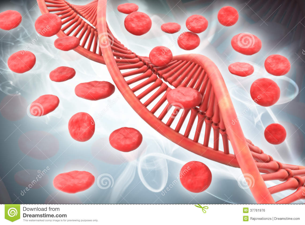 Dna And Blood Cells Royalty Free Stock Image