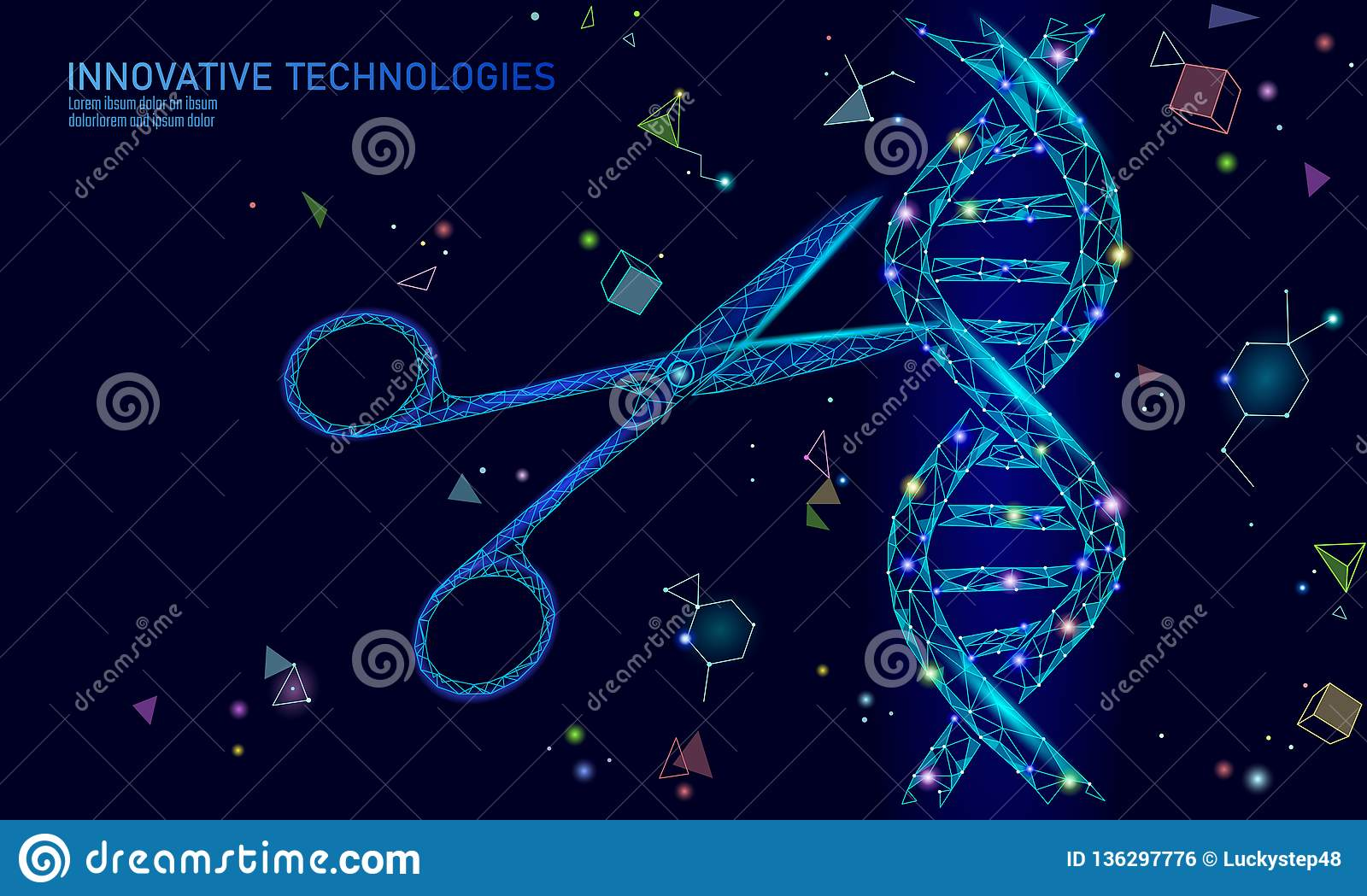 Dna 3d Structure Editing Medicine Concept Low Poly
