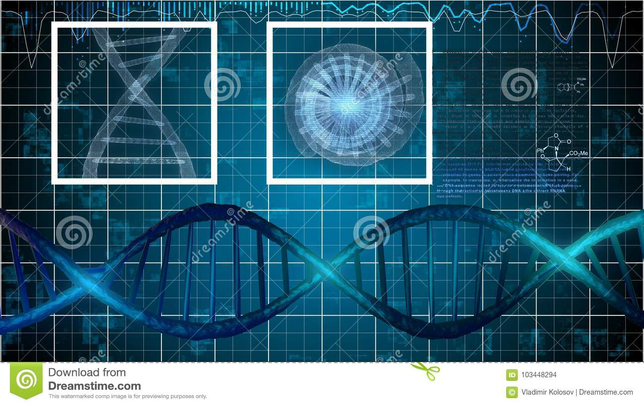 hight resolution of a neo geo 3d rendering of silver dna spirals with formulas nearby in the blue background two white squares are imposed on a gray spiral and a star looking