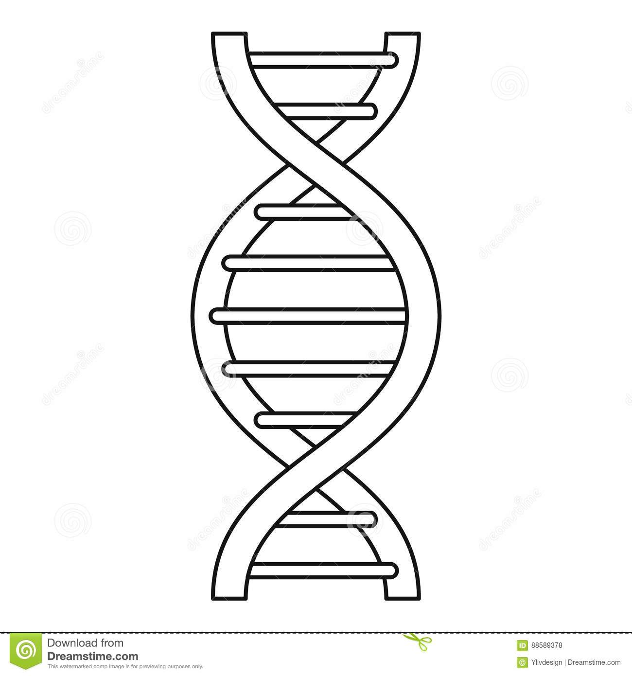 Dna Strand Icon Outline Style Stock Vector