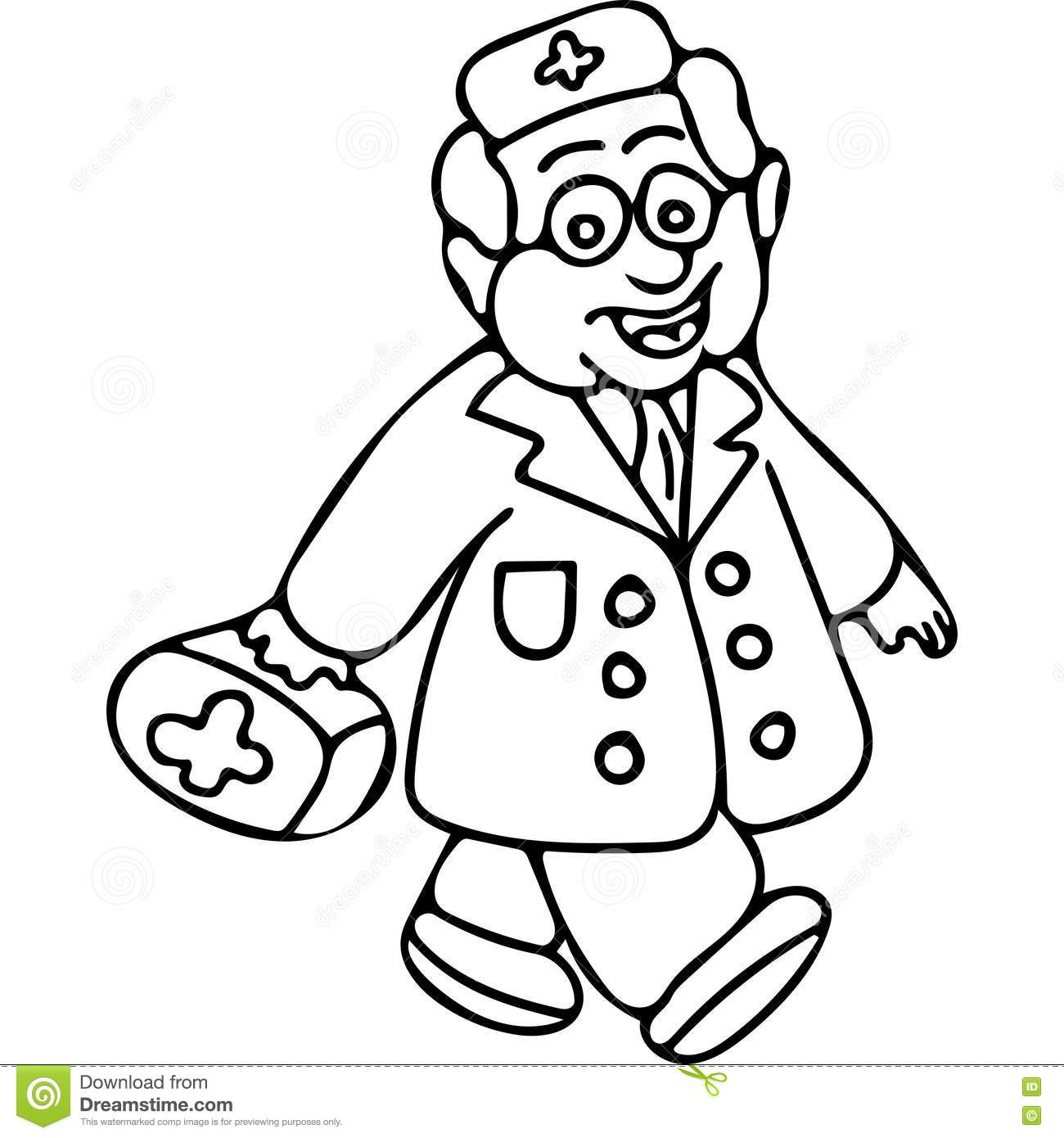 Doctor Book Kids Coloring Page Stock Illustration