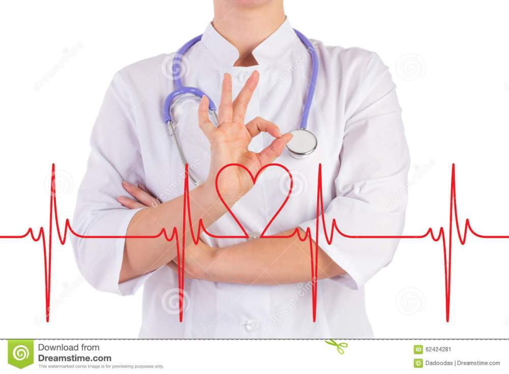 medium resolution of doctor hand shows everything is ok the diagram of the heart