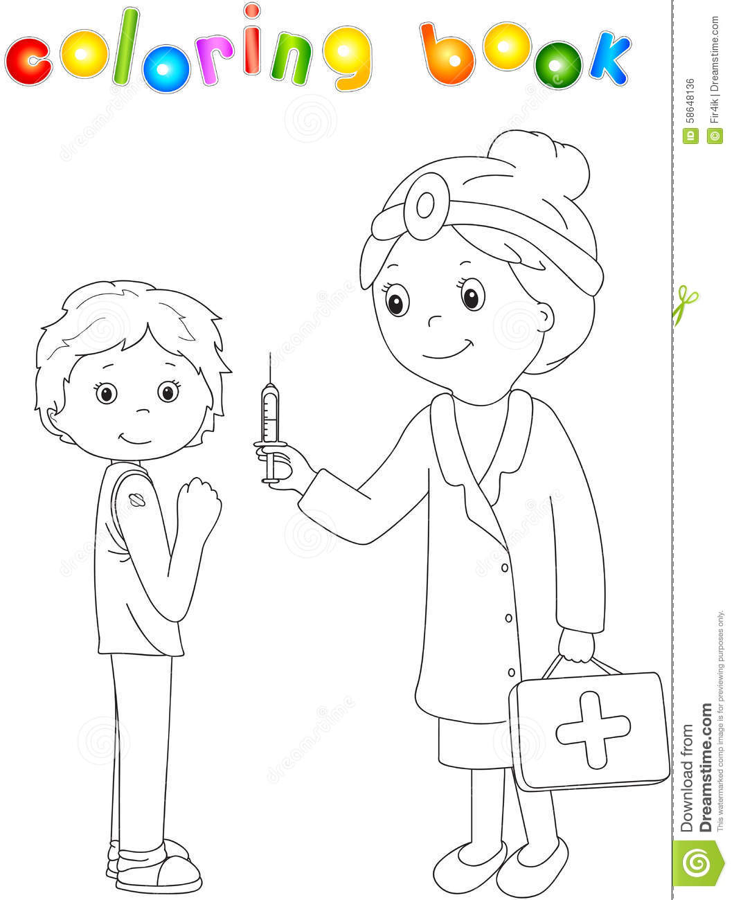 Doctor Makes Vaccination Cartoon Vector