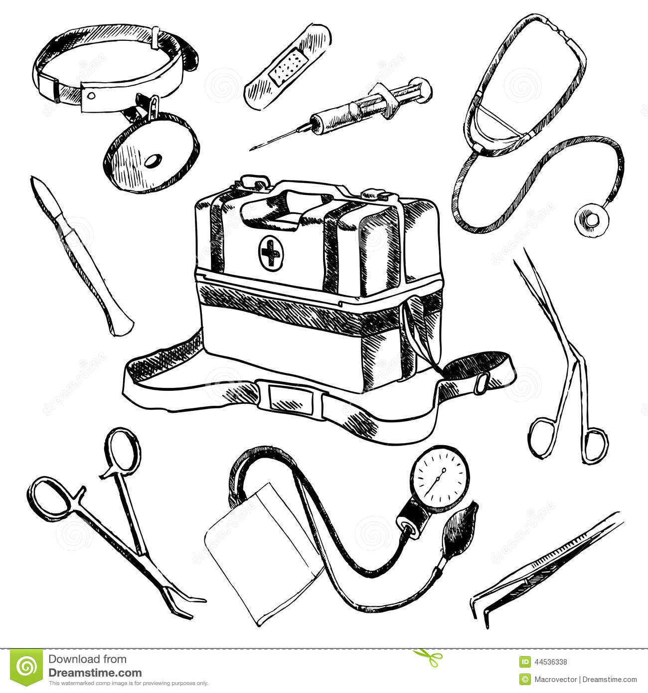 Doctor Medical Accessories Sketch Icons Set Stock Vector