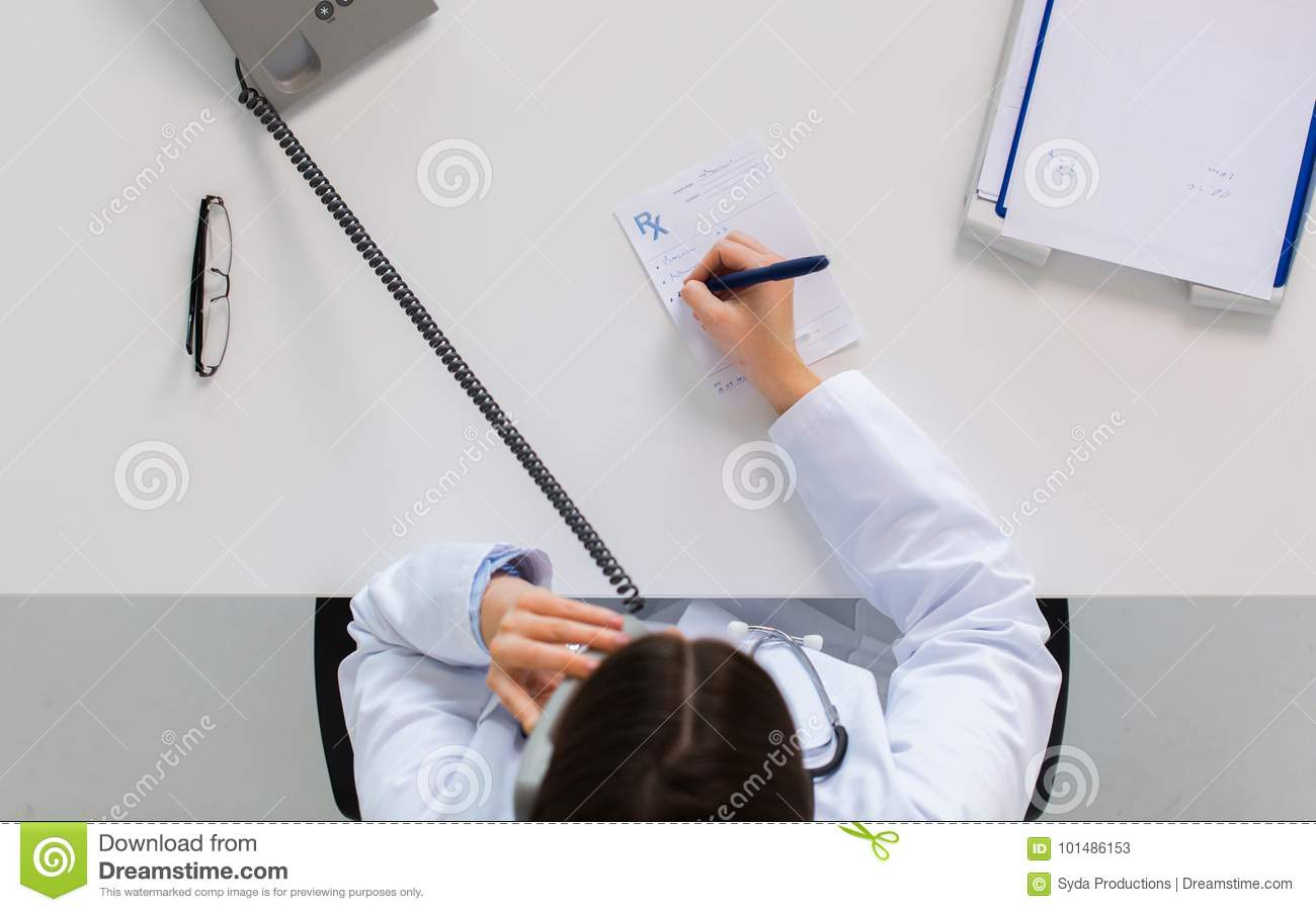 Doctor With Prescription Calling On Phone Stock Image ...