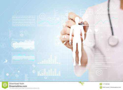 small resolution of doctor using modern computer with medical record diagram on virtual screen concept health monitoring application
