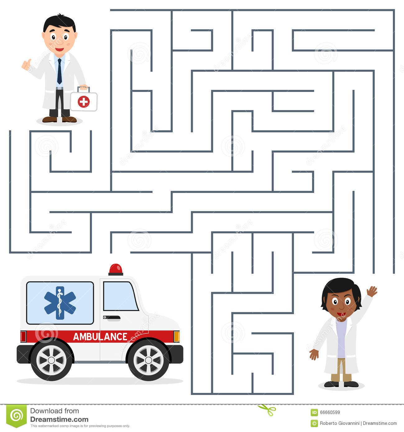 Doctors And Ambulance Maze For Kids Stock Vector