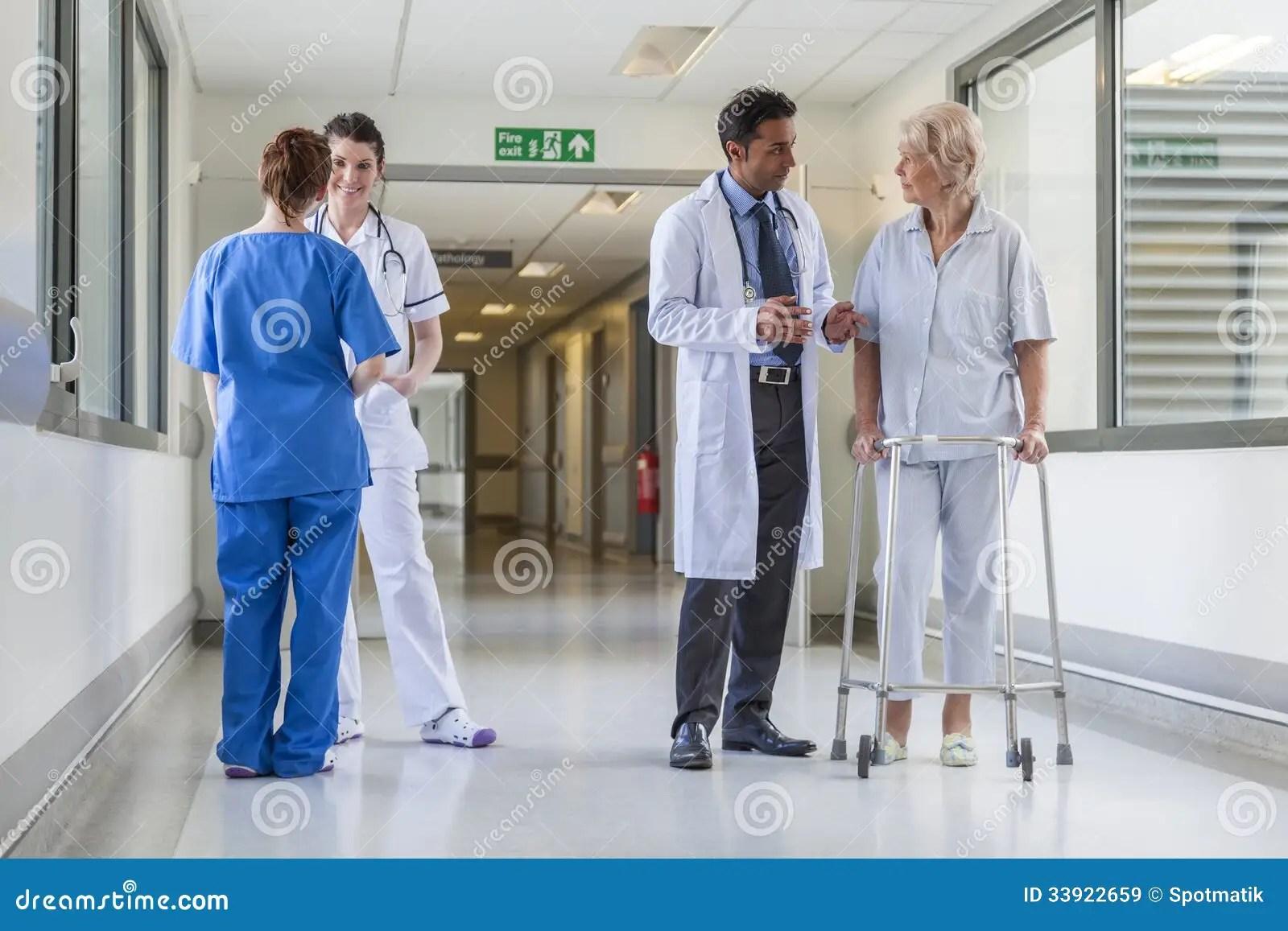 Doctors Hospital Corridor Nurse Senior Female Patient