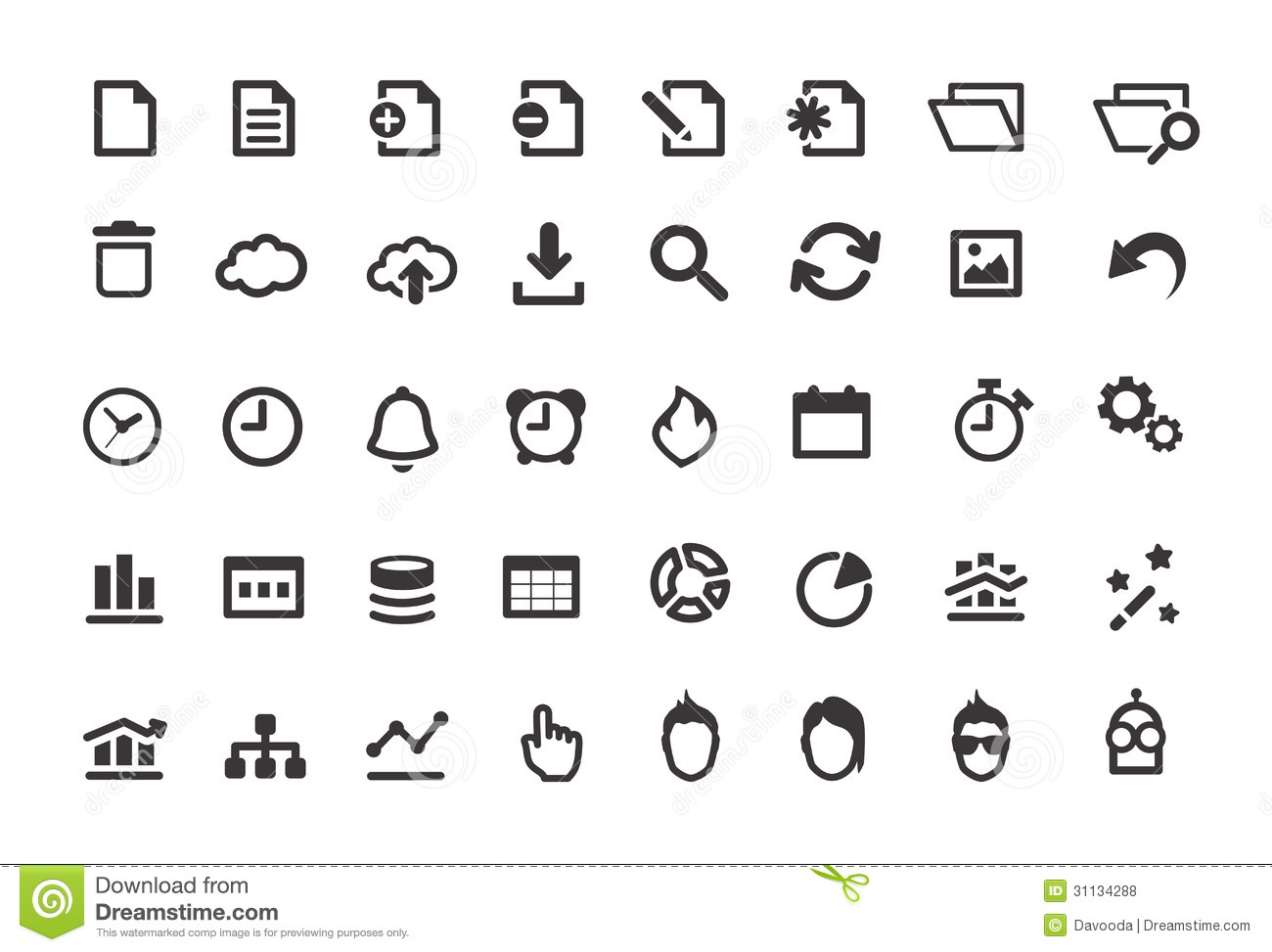 Set Vector Isolated Black Icon Fire Stock Vector Royalty Free Document Simple Icons Set Stock Vector. Illustration Of