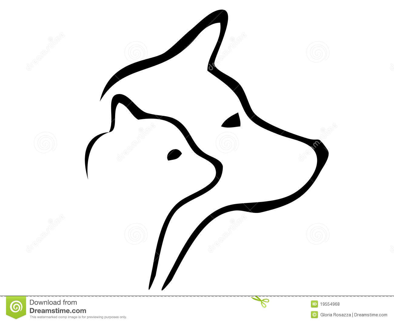 Dog And Cat Heads Silhouettes Logo Stock Vector