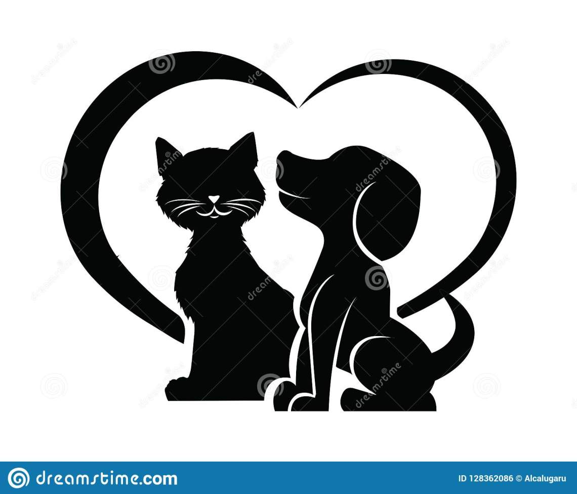 Download Dog And Cat Silhouette In A Heart Shape Stock Vector ...