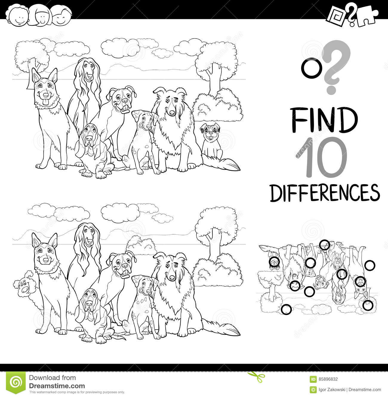 Dog Difference Game Coloring Page Stock Vector