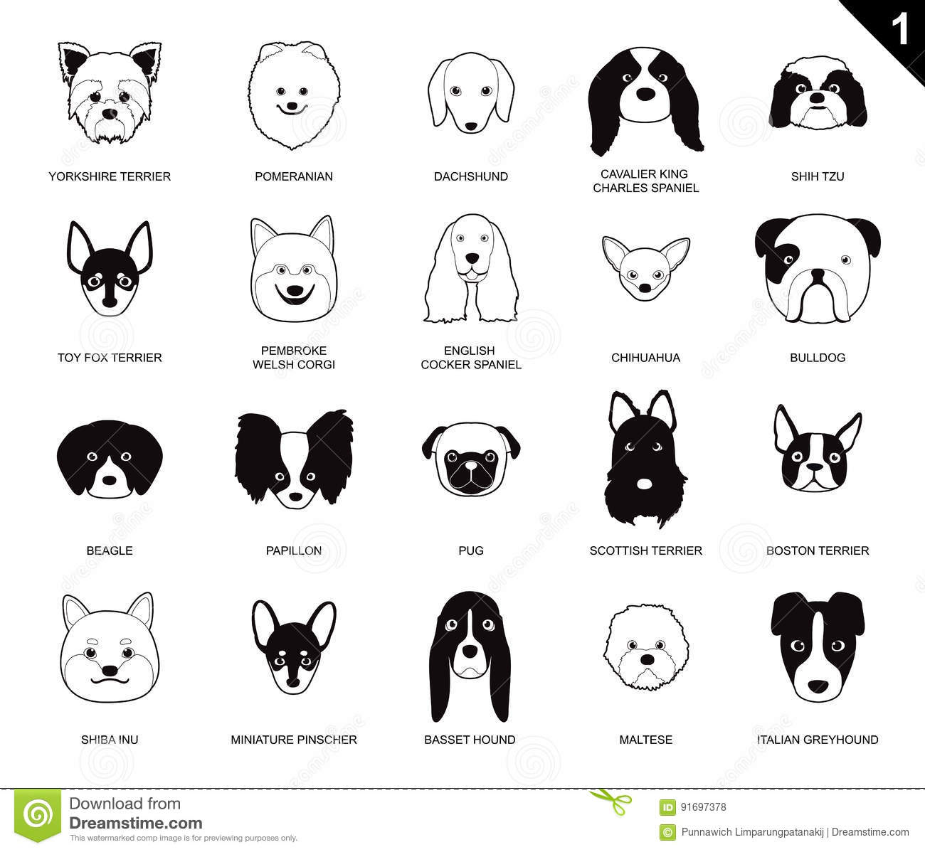 Dog Faces Stroke Monochrome Icon Cartoon Stock Vector