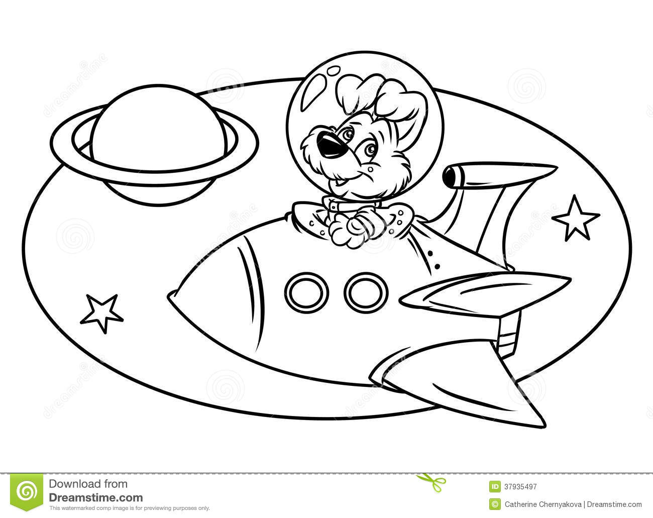 Dog Flying In Space Rocket Royalty Free Stock Photography